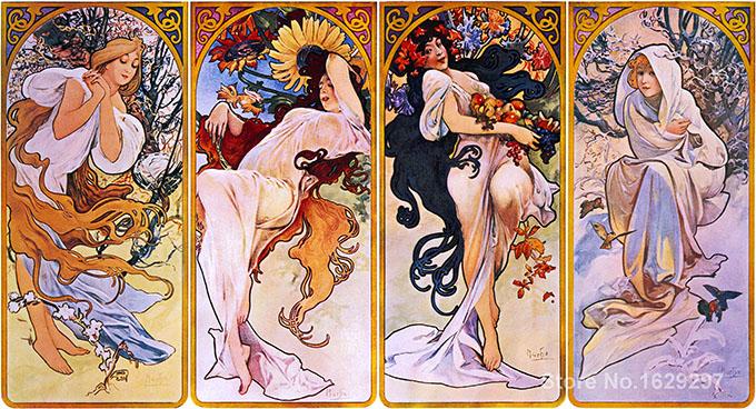 """Alfons Mucha: """"As Quatro Estações"""" (1895)"""